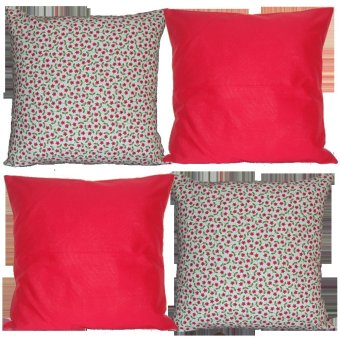 Sew Fab Posies Organic Throw Pillow Cover Set of 4 (Red)