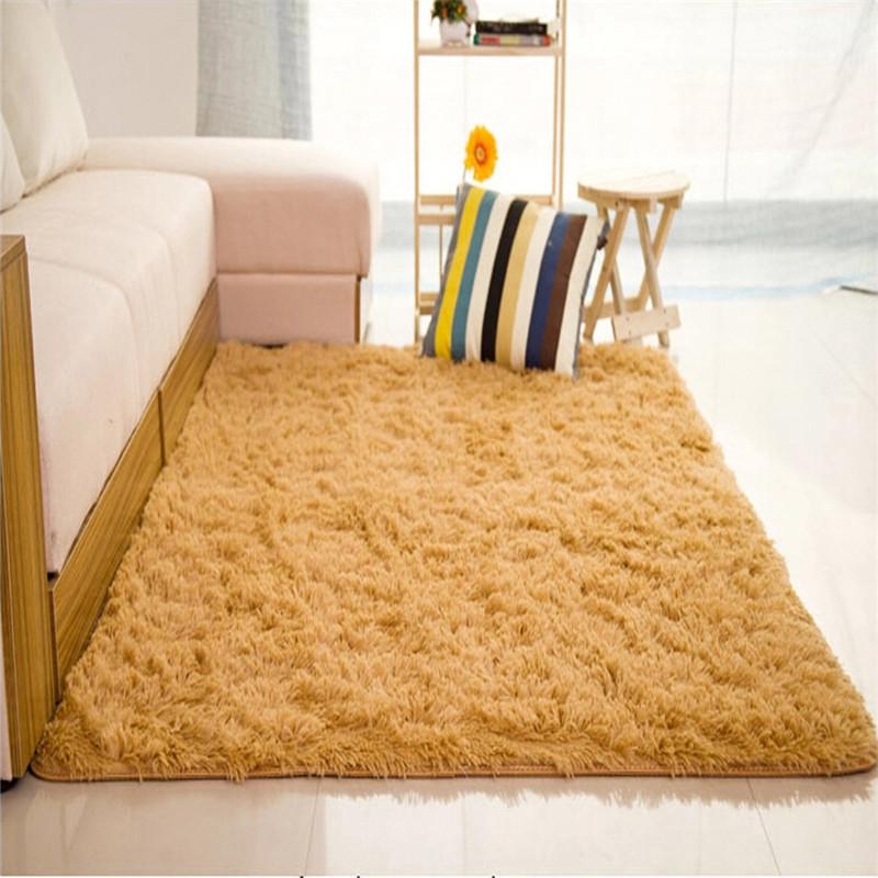 Shaggy Anti Skid Carpets Rugs Floor Mat Cover 80x120cm Khaki