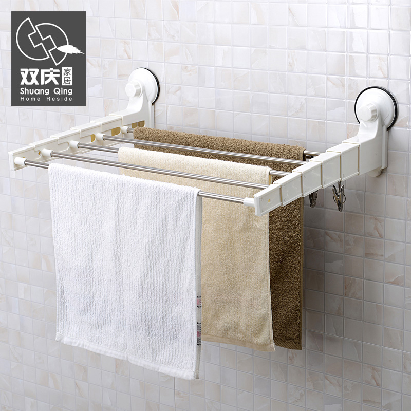 Shuangqing 60cm Suction Cup Stainless Steel Can Be Retractable Bathroom  Racks Hanging Rod Towel Rack