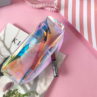 Simple transparent female soft stationery bag pencil case