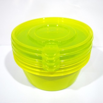 Slique Easy Stack Round Food Container 3pc Set 600ml Green