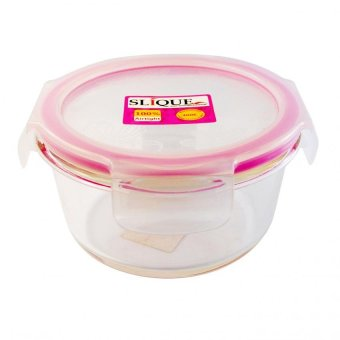 Slique Round Glass Food Container 420ml-Pink