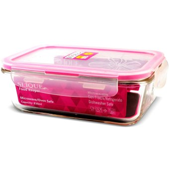 Slique SLQ-LK2821-PK Set of 3 Rectangular Glass Food Container830ml-Pink with Free Thermal Bag - 2