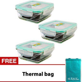 Slique SLQ-LK2827-TU Set of 3 Square Glass Food Container360ml-Turquoise with Free Thermal Bag