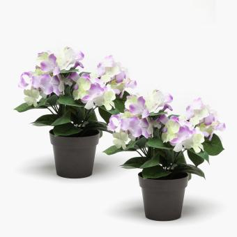 SM Home Purple Hydrangea Plastic Plant (Set of 2)
