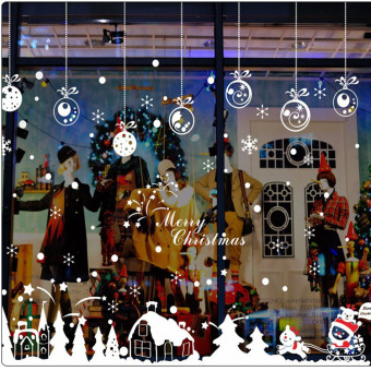 Snow mall shop window glass door stickers