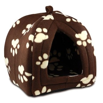 Soft Fleece Pet Hut (Brown/White)
