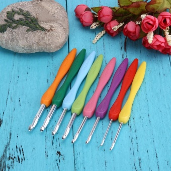 Soft Handle 8pcs Colorful Aluminium Crochet Hooks Knitting NeedlsSet - intl - 2
