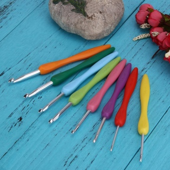Soft Handle 8pcs Colorful Aluminium Crochet Hooks Knitting NeedlsSet - intl - 3