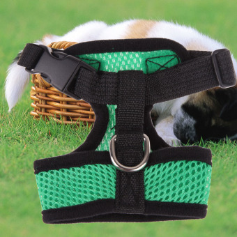 Soft Mesh Dog Harness Pet Puppy Cat Clothing Vest Green M - 3