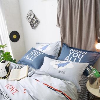 Solid color navy Panda printing style 100 % Cotton Bedding set 4pcsKing size bedsheet pillowcase duvet cover bed set - intl - 4