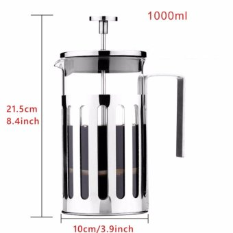Somine Satinless Steel French Press Cafetiere Coffee Maker or TeaPress with Lid & Handle 8 Cup /1000ml - intl - 2