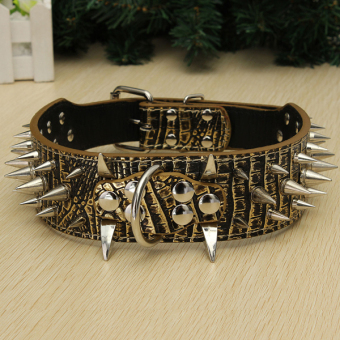 Spiked Studded Leather Pet Dog PitBull Mastiff Heavy Duty CollarSize M Gold+Brown