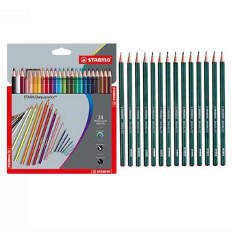 STABILO Aquacolor Crdboard Box 24S plus STABILO Othello 282 Pencil 14 pcs (2H, 2B, 3H, 3B, 4B, 4H, 5B, 6B, 7B, 8B, B, F, H, HB) Price Philippines