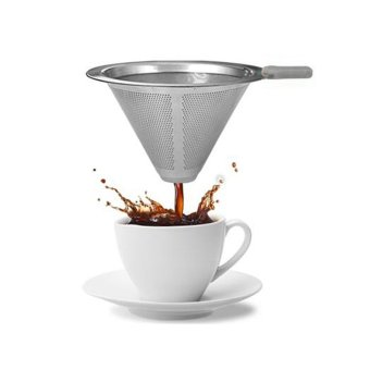 Stainless Steel Coffee Filter Coffee Dripper Pour Over Coffee Maker Drip Reusable Efficient separation Coffee Filter - intl - 4