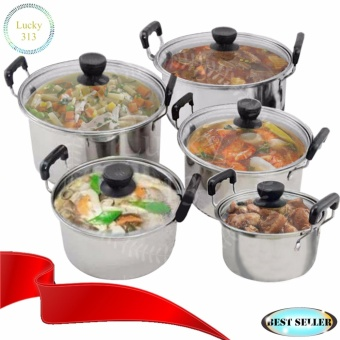 Stainless Steel Cookware Stockpot sets 5pcs Glass Cover