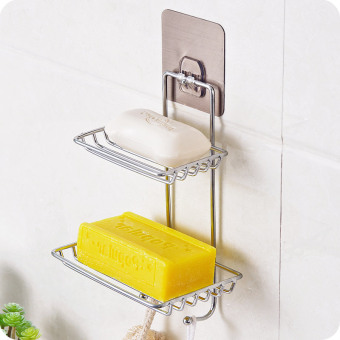 Stainless steel double layer wall hangers soap rack