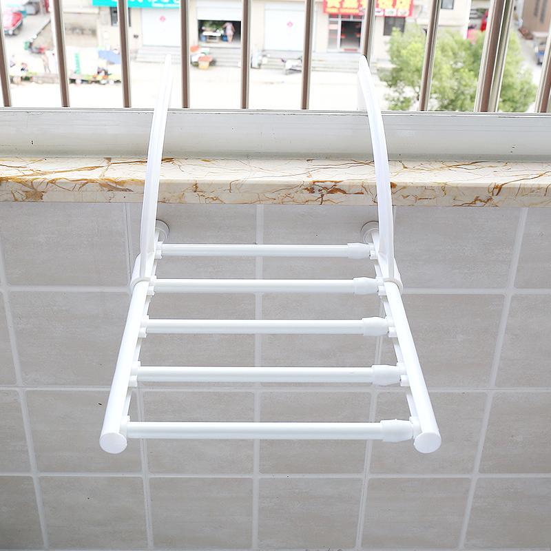 ... Stainless Steel Foldable Towel Hanger Retracted Balcony LaundryCloth  Drying Rack Indoor Outdoor Clothes Hangers (40 ...