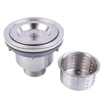 Stainless Steel Kitchen Sink Drain Assembly Waste Strainer andBasket Silver - 3