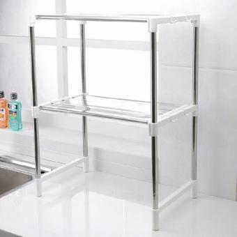 Stainless Steel Microwave Oven Rack Multi-function Kitchen ShelvesShelf Storage Rack Adjustable with Side Hook - 3