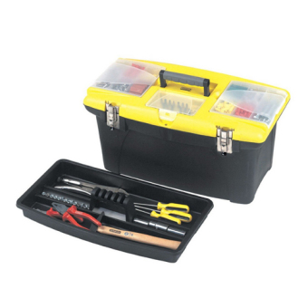 """Stanley Plastic Tool Box with Metal Latches 16"""" (Yellow/Black)"""