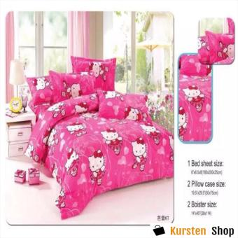 StevenShop 4in1 Bedsheet POLY COTTON HELL0 Kitty Vallet Design(2 pcs pillow case , 1pcs fitted and 1pcs bedsheet)QUEEN