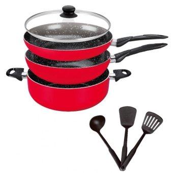 Stone Ceramic Cookware Pan Set (Red)