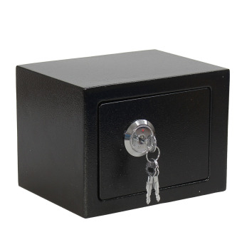 Strong Iron Steel Key Operated Security Money Cash Safe Box W/ Key Home Office - 3