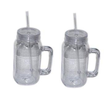 Summer Plastic Travel Mug with Straw Set of 2