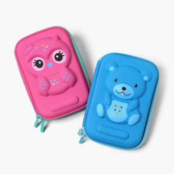 Summit Kids 2-piece Owl and Bear Molded Pencil Case Set