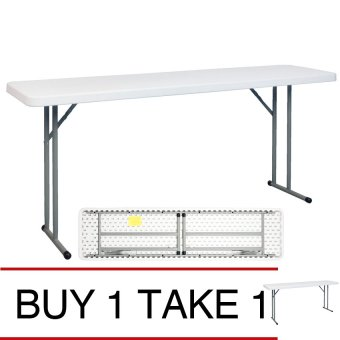 SUMO ST-1872S Solid Top Rectangular Folding Training Table withFoldable Steel Legs (White) BUY 1 TAKE 1