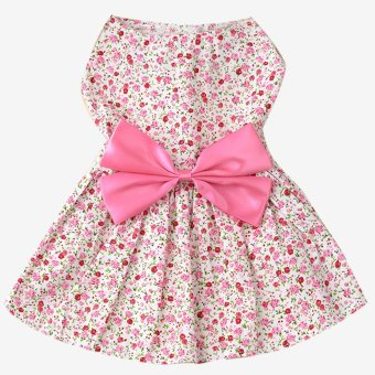 Sweet Flower Style Pet Dog Skirt Dress Clothes Costume Apparel withLarge Bowknot Oranment for Daily Party Wedding Holiday Pink Size S- intl