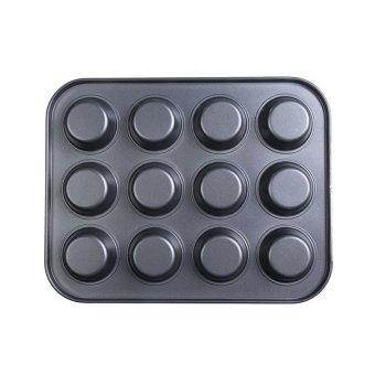 Sworld 12 Stainless Iron Nonstick Baking Pan Tray Tin Cup CakesPudding Muffin Bun (Black) (Intl) - 2