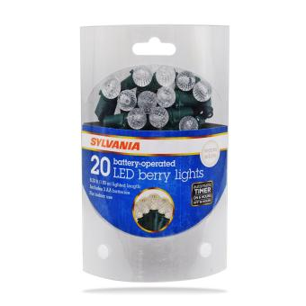SYLVANIA Battery Operated 20 LED Berry Christmas Lights (Warm White)
