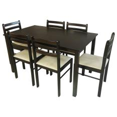 Tailee Starter 6 Seater Rubber Wood Dining Set With Cushion Seat