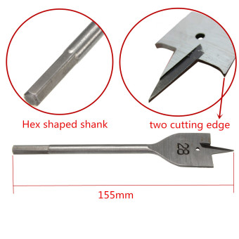 Teamwin Machine Flat Wood Drill Bits - All Metric Sizes Spade Bit Wallated - 2