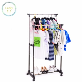 Telescopic Clothes Rack Double Pole Adjustable