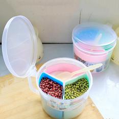 Three Grid Food Container Seasoning Box Condiment Spice Rack Jar Spoon Tools