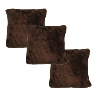 Throw Pillow Case Cover (Brown) Set of 3
