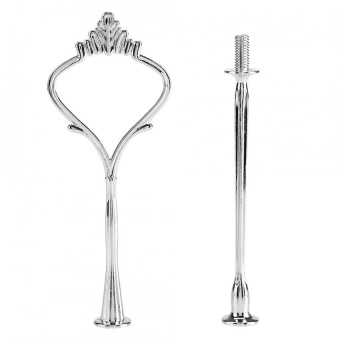 TMISHION Multi-tiers Cake Tray Stand Handle Fruit Plate HardwareFitting Holder(2-tiers Crown Silver) - intl - 4