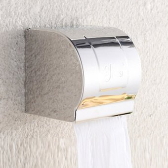 Toilet Paper Holder Wall Mounted Bathroom Tissue Holder with Phone Storage Shelf,Stainless Steel,Tissue Box