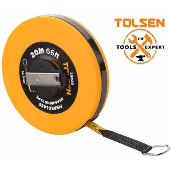 Tolsen Fiberglass Measuring Tape (20M) ABS Plastic Case w/ a paltedflush winding handle