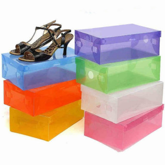 Transparent Plastic Clamshell Shoebox Stackable Foldable Storage Shoe Container Purple - Intl