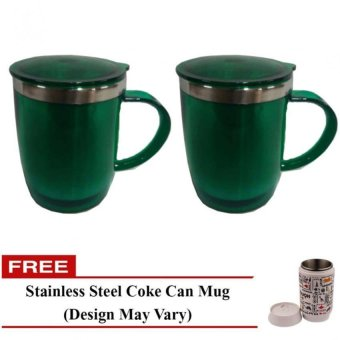 Travel Mug (Green) Set of 2 with Free Stainless Steel Coke Can Mug(Design May Vary)