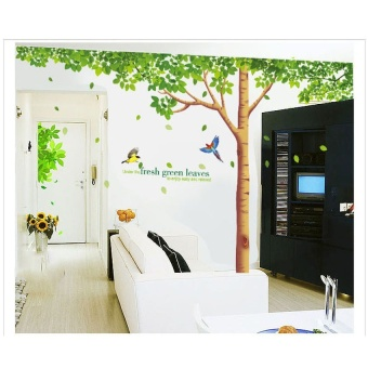 Tree Wall Stickers 310x204cm Extra Large Home Decoration LivingRoom Background TV Sofa Fresh Green Leaves Tree Wall Decal Vinyl - 5