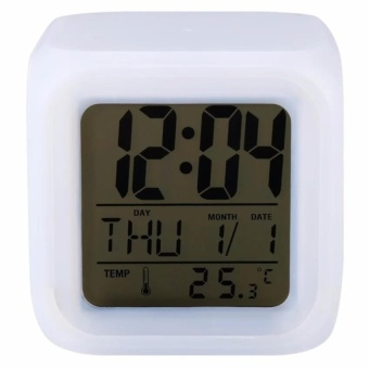 Trendsetter Cube Digital Clock LED 7 Color Glowing Change Digital Glowing Alarm Clock Thermometer Clock