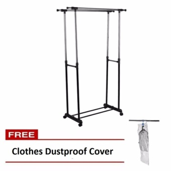 Trendsetter Racks Stainless Steel Double-Pole Stand Floor IndoorOutdoor Retractable Windproof Hangers with Free Clothes DustproofCover