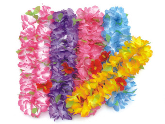 Tropical Luau Plastic Hawaiian Flower Lei Mixcolor HH0007 - Intl