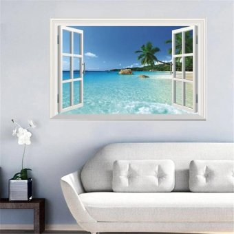 TTmall 3D Windows Seaside Wall Sticker Decal Wallpaper PVC Mural Art House Decoration Home Picture Wall Paper for Adult Kids 60X90 - intl