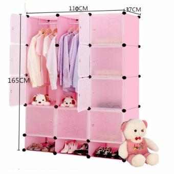Tupper Cabinet 12 Cubes Doors DIY Storage Cabinet with Bottom Shoe Rack (Pink) Price Philippines